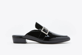 189-1A Black Crystal Buckle Mules
