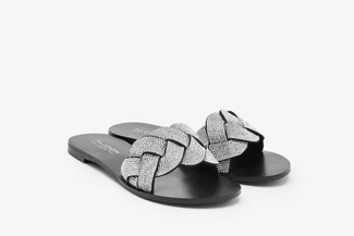 2639-8 Silver Weaved Slide Sandals