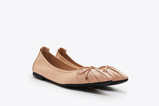 A3660-23 Almond Pleated Ribbon Flats