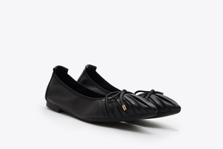 A3660-23 Black Pleated Ribbon Flats