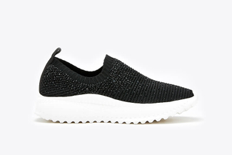 108-1A Black Rhinestone Knit Slip-On Sneakers