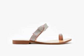 3088-80 Pink Glitter Bow Sandals