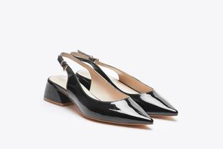 7018-08 Black Slingback Stacked Heels
