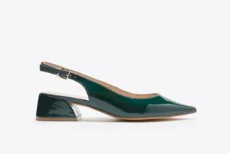 7018-08 Green Slingback Stacked Heels