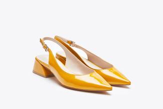 7018-08 Yellow Slingback Stacked Heels