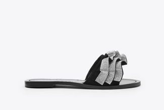 YD336-240 Black Embellished Ruffle Sandals