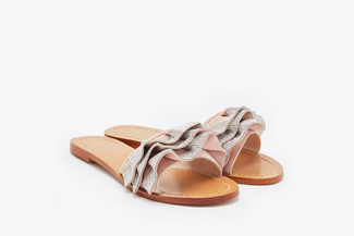 YD336-240 Pink Embellished Ruffle Sandals