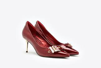 1898-3 Maroon Side Belt Buckle Patent Heels