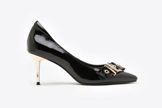 1898-3 Black Side Belt Buckle Patent Heels