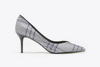 8003-254 Blue Tweed Sequined Pointy Leather Heels