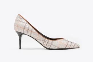 8003-254 Brown Tweed Sequined Pointy Leather Heels