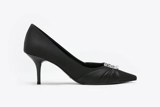 LT888-12 Black Crystal Embellished Satin Pointy Mid Heels