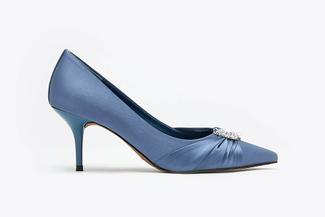 LT888-12 Blue Crystal Embellished Satin Pointy Mid Heels