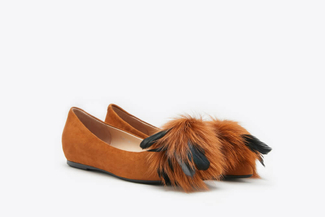 1036-1A Brown Feathered Classic Suede Leather Flats