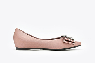 1819-1A Taupe Crystal Buckle Ribbon Pointy Toe Satin Flats