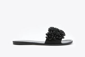 444-57 Black Floral Embellished Sandals