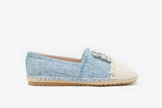 733-28 Blue Diamante Frayed Espadrilles