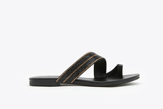 1081-3 Black Glistening Embellished Leather Slide Sandals