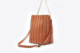 1801 Mud Gold Chain Leather Bucket Shoulder Bag
