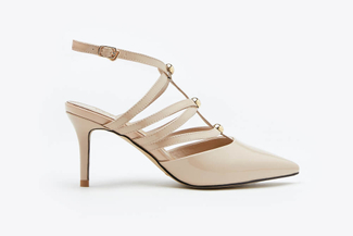 1908-1 Almond Studded T-Strap  Patent Leather Heels