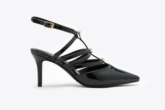 1908-1 Black Studded T-Strap  Patent Leather Heels