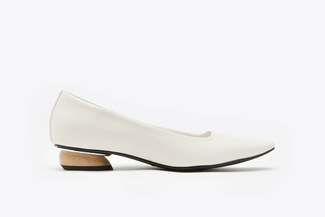 287-1 Beige Classic Point Toe Leather Low Heel Pumps