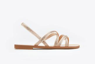 3088-94 Almond Diamante Multi-Cross Strap Sandals
