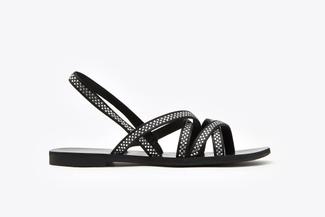 3088-94 Black Diamante Multi-Cross Strap Sandals