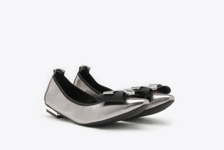 309-2 Pewter Metallic Bow Front Leather Square Toe Flats