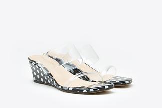 3671-2 Black Polka Dot  Wedge Sandals