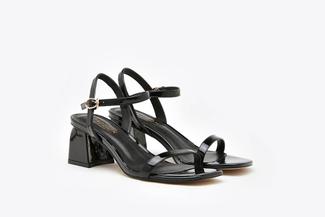 3920-2A Black Open Toe Block Heels