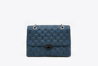 9073A Blue Quilted Studded Clutch