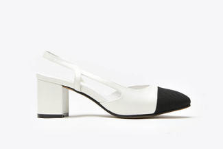 A569-3 White Block Heel