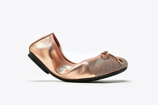 BB620-62 Champagne Kids Bow Glistening Leather Foldable Flats