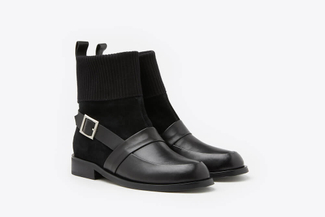0070-501 Black Buckle Leather Biker Boots