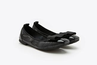 1737-3 Black Bow Embellished Patent Low Heels