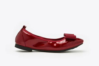1737-3 Maroon Bow Embellished Patent Low Heels