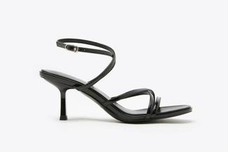 1921-702 Black Strappy Slingback Kitten Heel Sandals