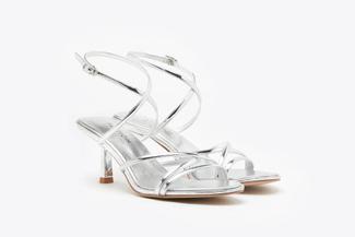 1921-702 Silver Strappy Slingback Kitten Heel Sandals