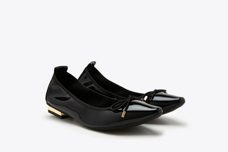 309-1 Black Pointy Toe Glossy Patent Leather Bow Flats
