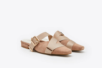 9238-1 Almond Cross-strapped Woven Buckle Mules