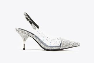 LT8208-1 Black Studded Texturised  Slingback Heels