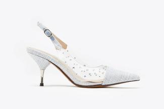 LT8208-1 Powder Blue Studded Texturised  Slingback Heels
