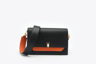 SB-D119 Black Two-Toned Boxy Leather Satchel