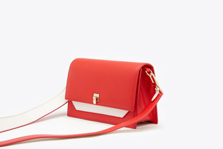SB-D119 Red Two-Toned Boxy Leather Satchel