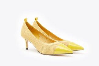 2099-10 Yellow Knit Effect Pointy Kitten Heels