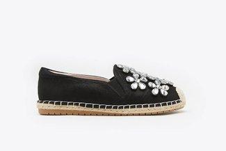 733-69 Black Floral Crystal Embellished Espadrilles