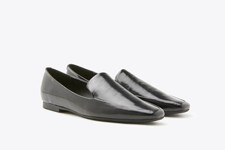 1215-1 Black Metallic Toned Leather Loafers