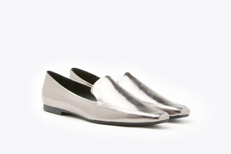 1215-1 Pewter Metallic Toned Leather Loafers