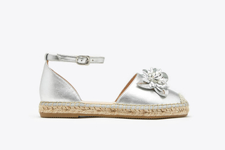 1582-25 Silver  Floral Crystal Toe Cap Leather Espadrille Sandals